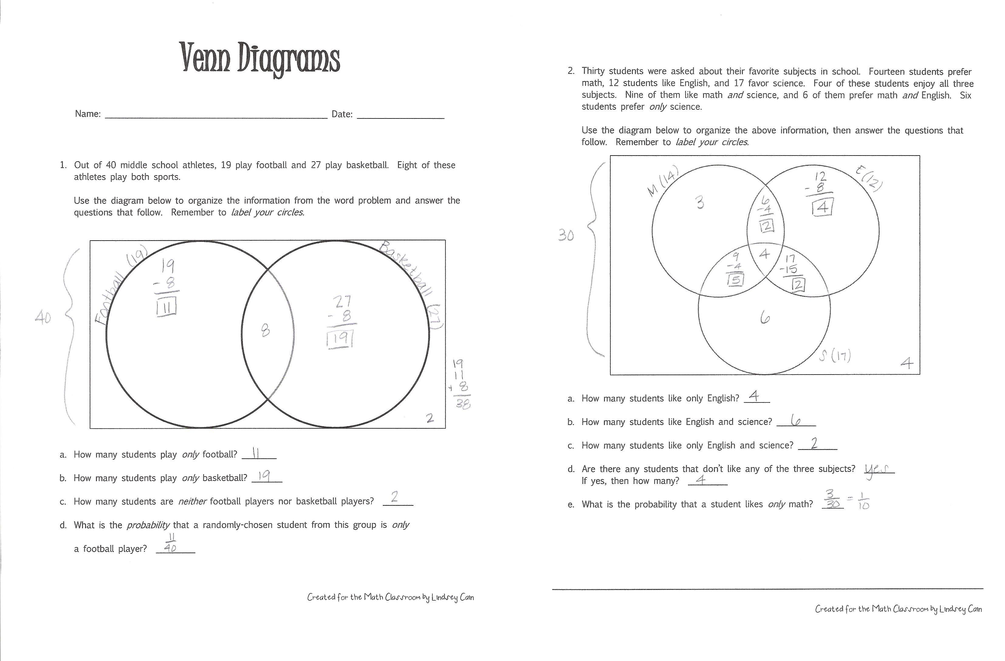 Venn diagrams literacy strategies for the math classroom venn diagrams worksheet example ccuart Choice Image